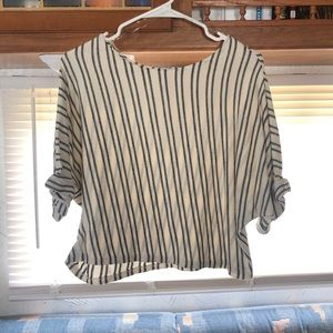 Cuffed Sleeve Striped Blouse